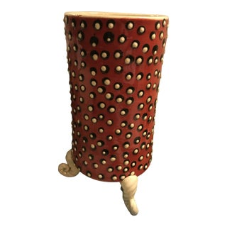 Spotted Ceramic Vase With Feet For Sale