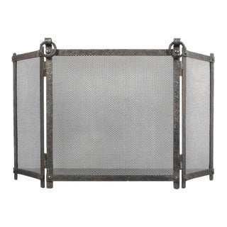 Art Deco Fire Screen From Wrought Iron Forged For Sale