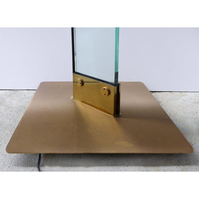 Italian Brass & Glass Mid-Century Torchiere Floor Lamp For Sale In Miami - Image 6 of 12