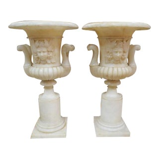 1920 Vintage Antique Carved Marble Urns - a Pair For Sale