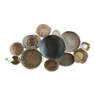 Vintage Basket Wall Set Instant Collection Boho Decor Dark Toned 12 For Sale