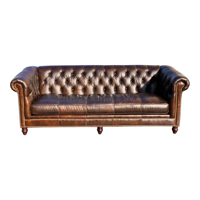 Tommy Bahama Manchester Leather Sofa For Sale