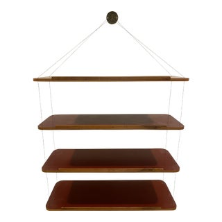 1960s Minimalist Brass and Wire Shelves For Sale