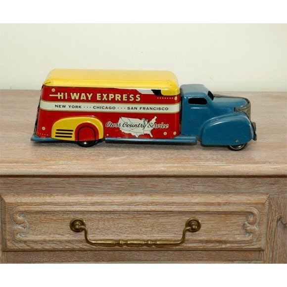 Blue Marx Tin Litho Highway Express Toy Truck For Sale - Image 8 of 8