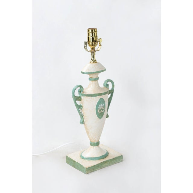Vintage Urn Lamp in White With Green Cypher of Dutches & Duke of Windsor For Sale - Image 4 of 7