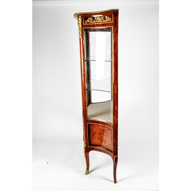 Brass Vintage Sand Burl Wood Mahogany Hutch Cabinet or Vitrine For Sale - Image 7 of 12