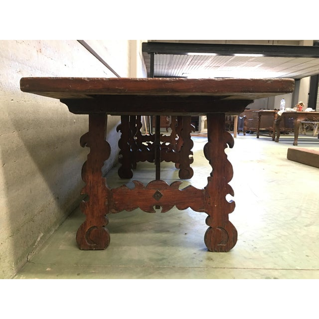 Early 19th Century French Baroque Style Walnut Trestle Dining Farm Table For Sale - Image 4 of 11