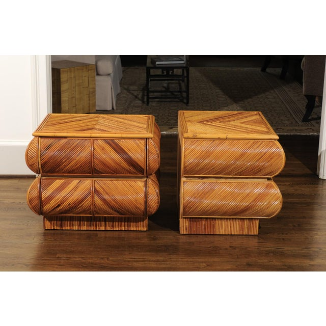 Magnificent Restored Pair of Bullnose Small Chests in Bamboo, Circa 1980 For Sale - Image 10 of 13