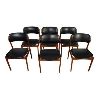 1960s Vintage Erik Buch Danish Modern Od Mobler Model 49 Black Leather Teak Dining Chairs- Set of 6 For Sale