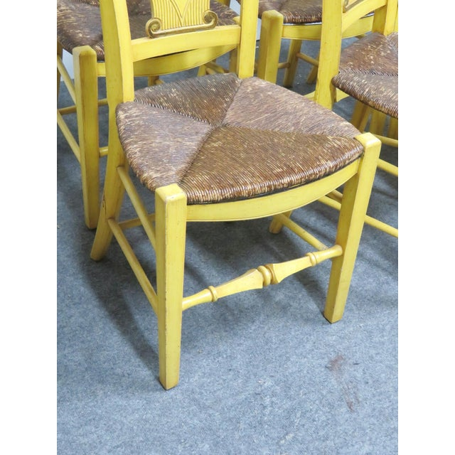 French Country Carved & Painted Rush Seat Chairs - Set of 6 For Sale In Philadelphia - Image 6 of 7