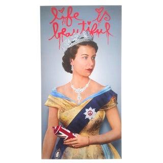 "Mr. Brainwash "" Life Is Beautiful Queen Elizabeth "" Lithograph Print Pop Art Poster"