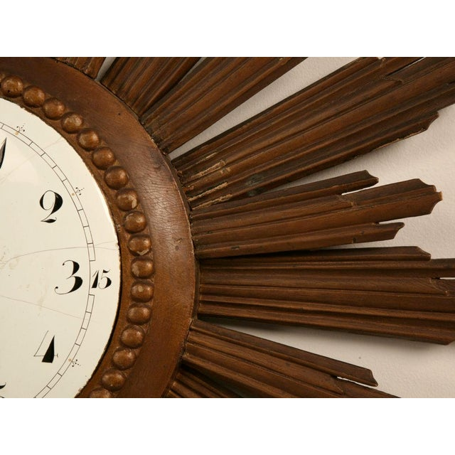 White French Sunburst Clock with Porcelain Face For Sale - Image 8 of 11