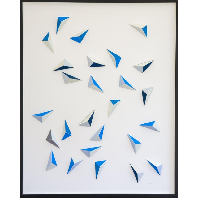 Origami Blue Triangle Abstract Collage by Dawn Wolfe For Sale - Image 4 of 4