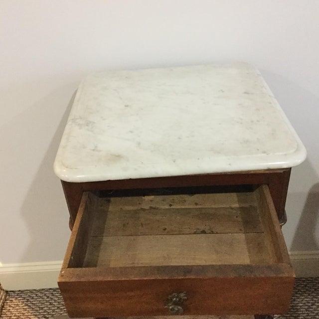 Antique Marble Top Walnut Nightstand - Image 6 of 10