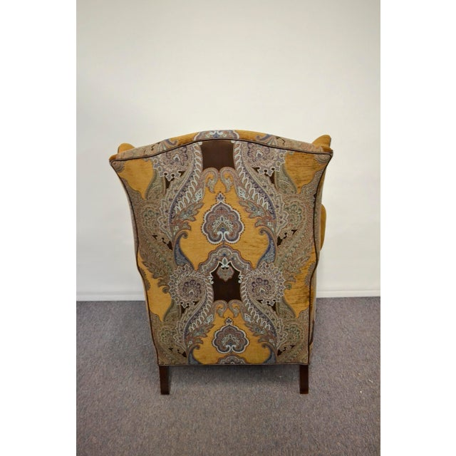 Americana Paisley Velvet Wingback Chair For Sale - Image 3 of 4