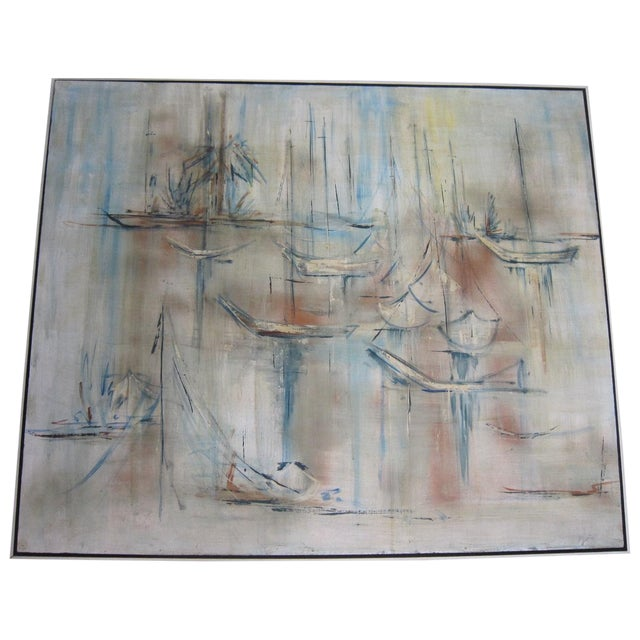 Mid-Century Abstract Nautical Painting - Image 1 of 6