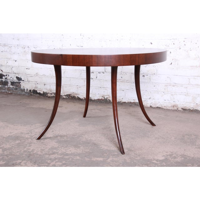 Robsjohn-Gibbings for Widdicomb Mid-Century Modern Walnut Saber Leg Extension Dining Table, Newly Restored For Sale - Image 9 of 13