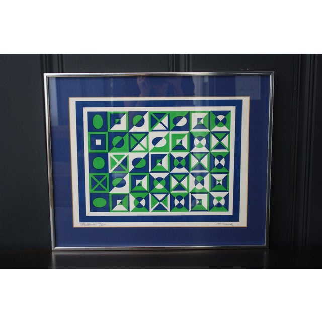 1970s Op Art Blue and Green Serigraphs - A Pair - Image 6 of 11