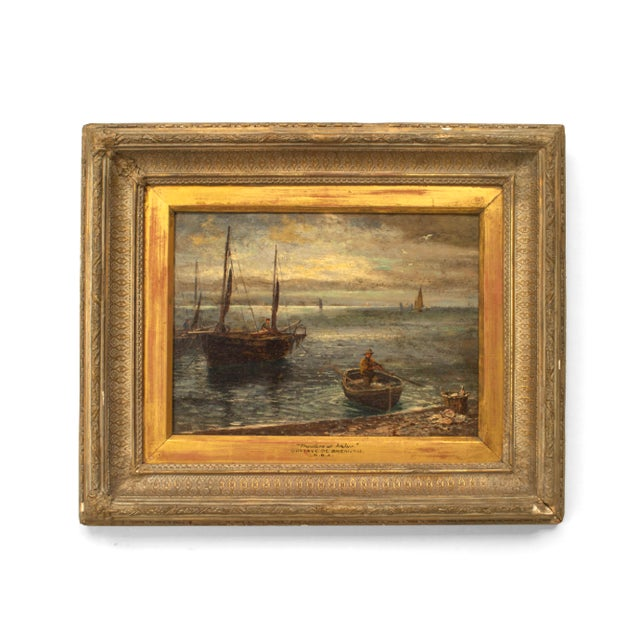 English Victorian Bleached and Carved Framed Oil Painting For Sale - Image 4 of 4