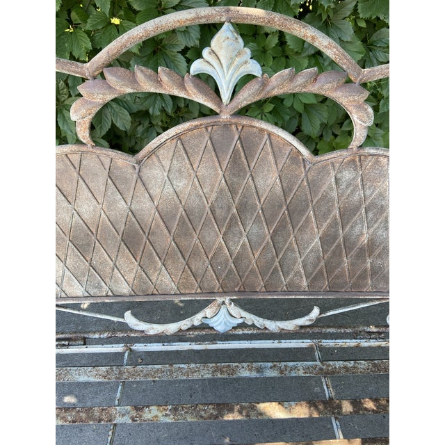 Cream French Antique Wrought Iron Outdoor Folding Bench For Sale - Image 8 of 12