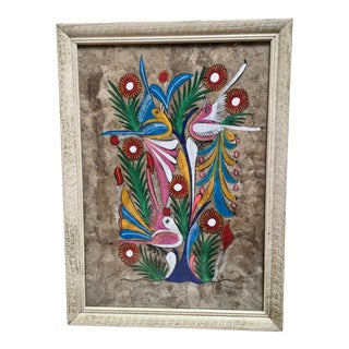 Mexican Folk Art Painting on Bark For Sale