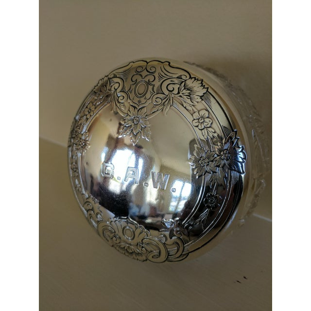 Gorham Sterling Silver Monogrammed Vanity Powder Jar For Sale - Image 5 of 7