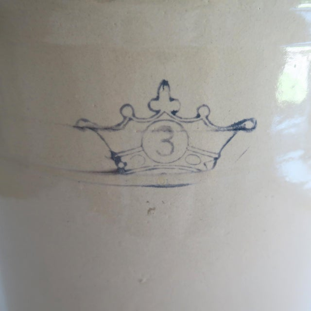 Antique 3 Gallon Stoneware Pottery White and Blue Crown Crock For Sale - Image 4 of 6