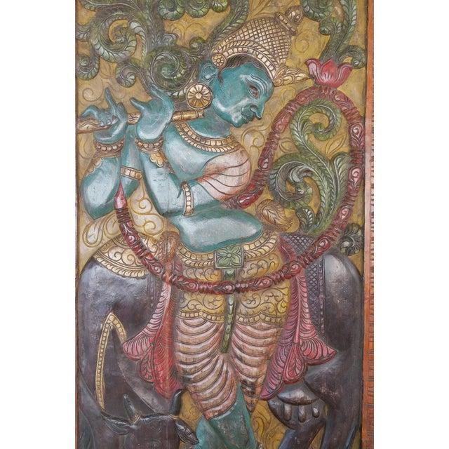 Indian Carved Krishna Handmade Vintage Wall Relief Sculptural Door For Sale - Image 4 of 5