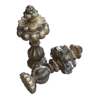 Early 20th Century French Gilt Wood Finials - a Pair For Sale