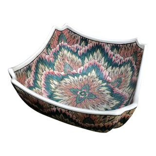 Vintage Chinese Macau Style Floral Flame Stitch Design Bowl For Sale