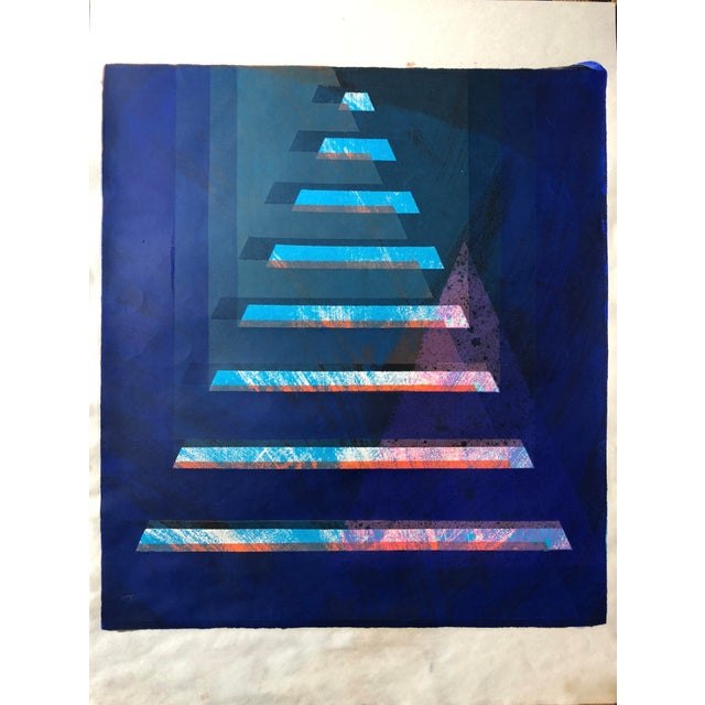 """J. H. Turner Abstract Pyramid 1970's Silkscreen on Paper 18"""" x 24"""" No Signature came from portfolio of J.H. Turner"""