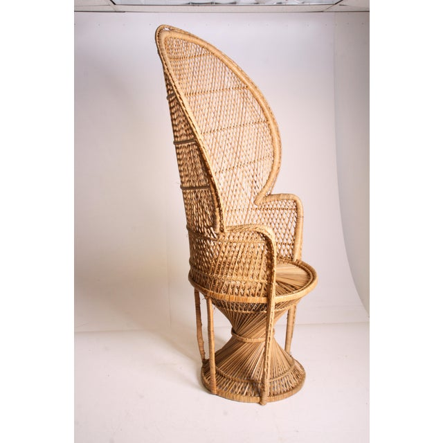 Boho Chic Vintage Boho Chic Wicker Peacock Chair For Sale - Image 3 of 11