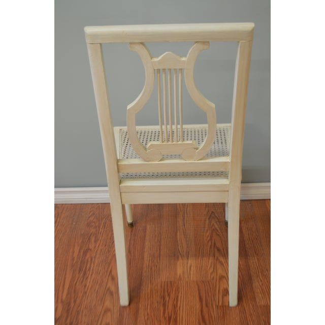 Gustavian Style Painted Lyre Back Dining Chairs With Cane Seat & Linen Seat Cushions - Set of 6 For Sale In Buffalo - Image 6 of 9