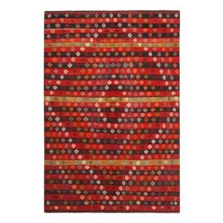 """Vintage Geometric Red Wool Kilim Rug-5'8'x8'7"""" For Sale"""
