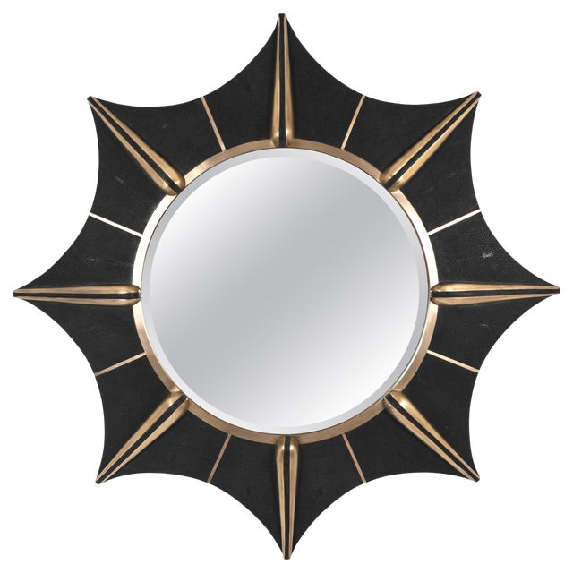 Star Mirror in Black Shagreen and Bronze-Patina Brass by R & Y Augousti For Sale