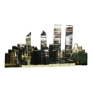 Mid Century Modern Mirror of New York City Skyline With Twin Towers For Sale