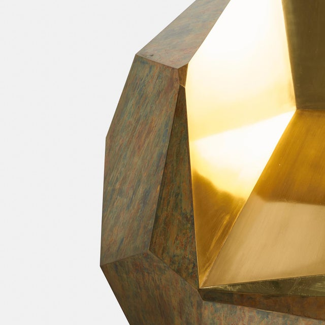 "Art Deco ""Brass Popova Chair,"" Faceted Brass, Sylvan San Francisco For Sale - Image 3 of 6"