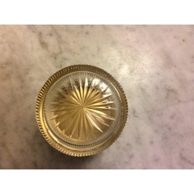 Antique Cobalt Enamel on Silver Crystal Powder Jar For Sale - Image 4 of 9
