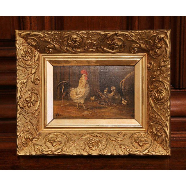 Rustic Pair of 19th Century French Oil Chicken Paintings on Board in Carved Frames Circa 1880 For Sale - Image 3 of 10