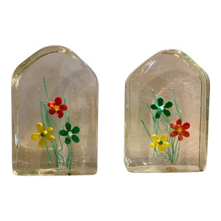 1960s Hand Blown Murano Glass Mid-Century Bookends - a Pair For Sale