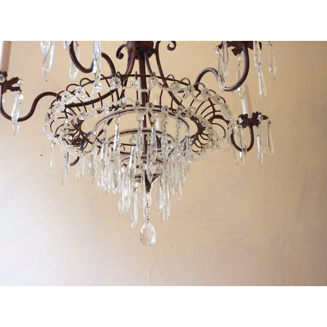 French French Tole & Crystal Chandelier For Sale - Image 3 of 11