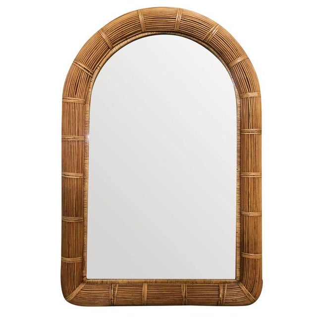 Restored Stick Rattan Wall Mirror With Large Rattan Wrappings For Sale - Image 4 of 4