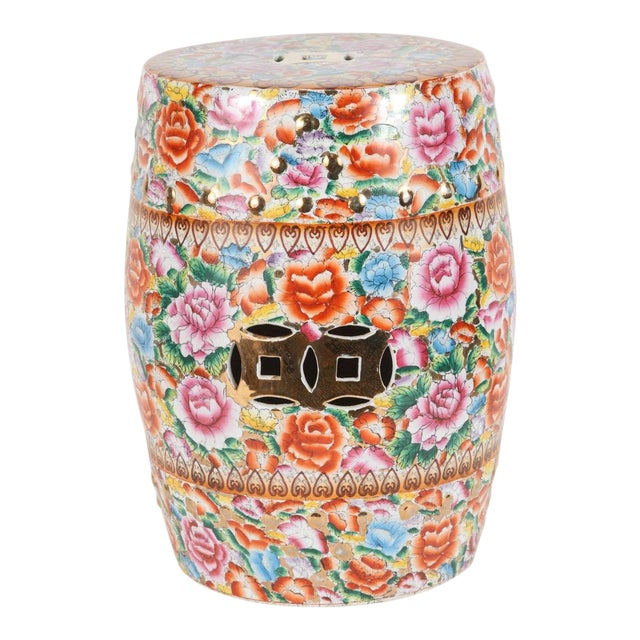 Chinese Pink Ceramic Garden Seat With Lucky Coins For Sale