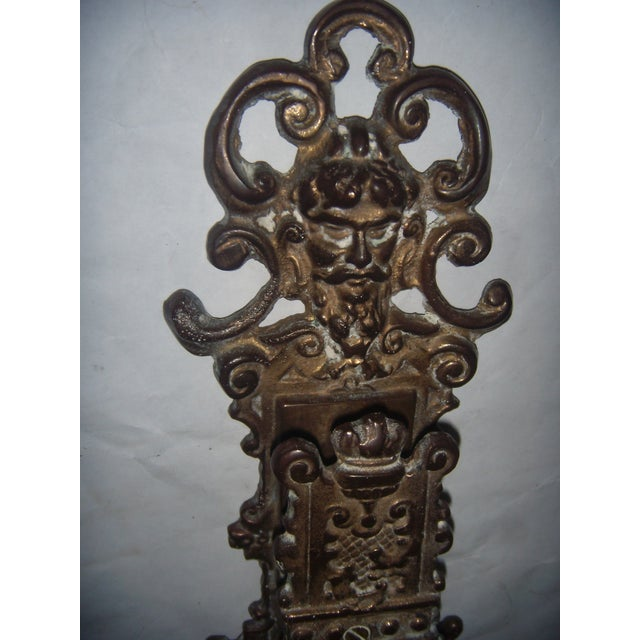 Ornate Brass Wall Mount Match Holder - Image 4 of 10