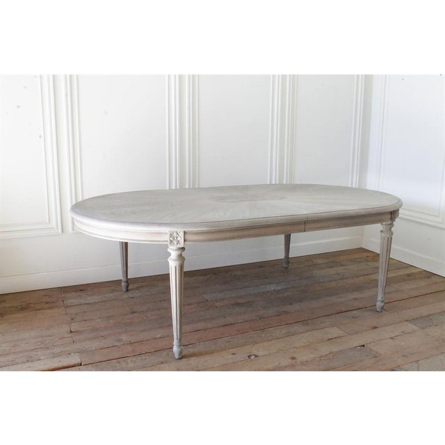 20th Century Carved Louis XVI Style White Oak and Walnut Dining Table - Image 2 of 6