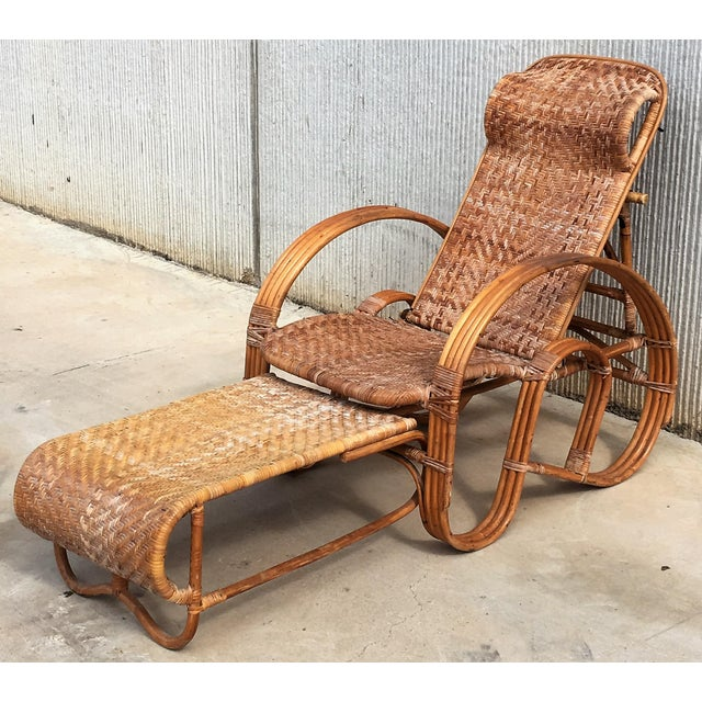 20th Century Adjustable Bentwood and Rattan Chaise Longue With Ottoman For Sale - Image 10 of 12
