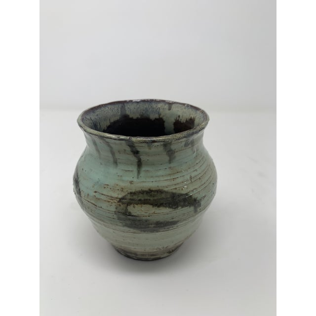 Late 20th Century Short Green Ceramic Vase For Sale - Image 11 of 11