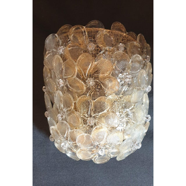 1970s Mid-Century Modern Murano Glass Gold Flower Sconces by Barovier - a Pair For Sale - Image 5 of 11