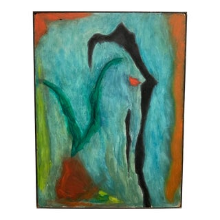 1970s Vintage Sachiko Asano Abstract Painting For Sale