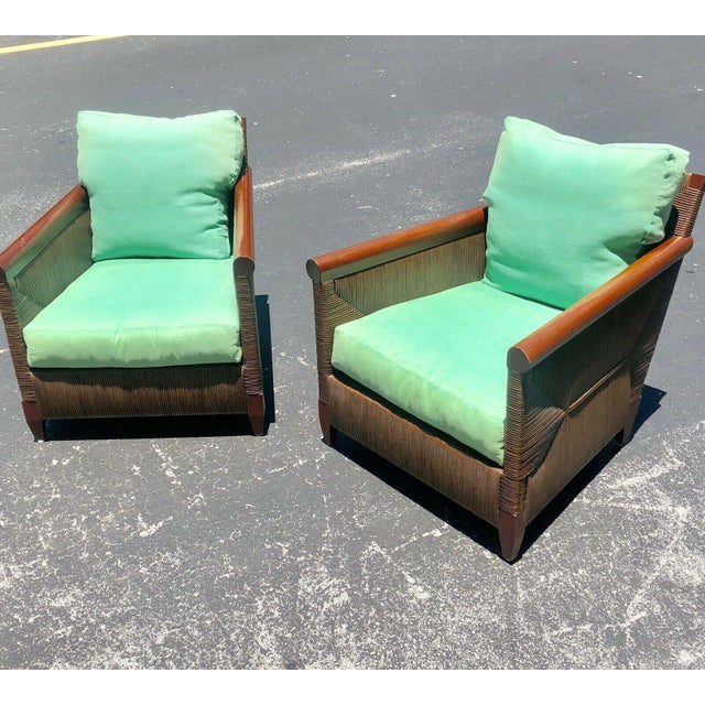 Donghia Wicker Lounge Chairs by John Hutton - a Pair For Sale - Image 9 of 9
